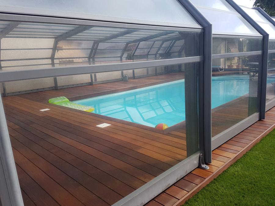 Terrasse piscine en bois exotique à Blagnac réalisé par Arboréo